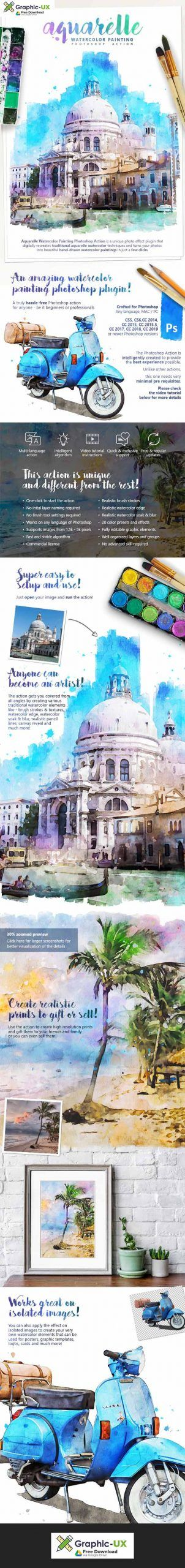 Aquarelle Watercolor Painting Photoshop Action Graphicux In