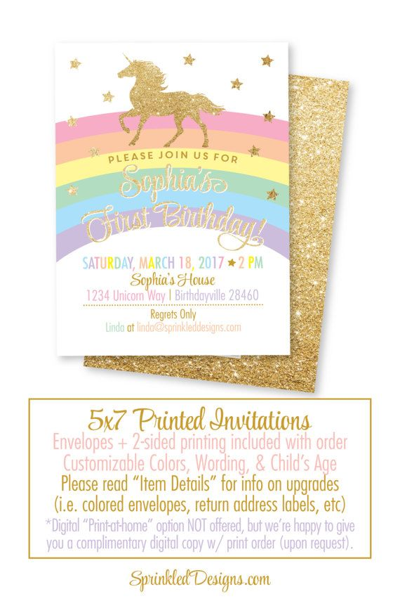 Unicorn birthday invitation cards girls magical unicorn party gold unicorn birthday invitation cards girls magical unicorn party gold glitter printed rainbow unicorn birthday party invites bright colors stopboris Image collections