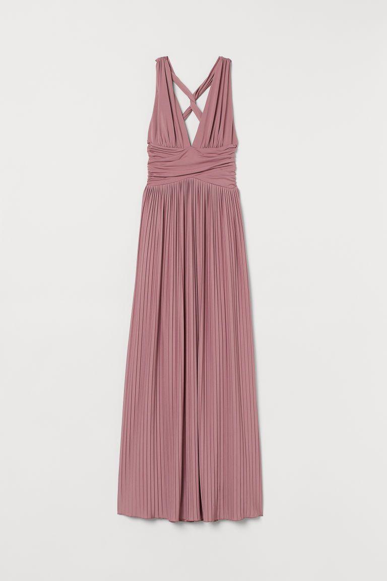 Plissiertes Maxikleid Altrosa Ladies H M De In 2020 Kleid Altrosa Kleidung Kleider H M