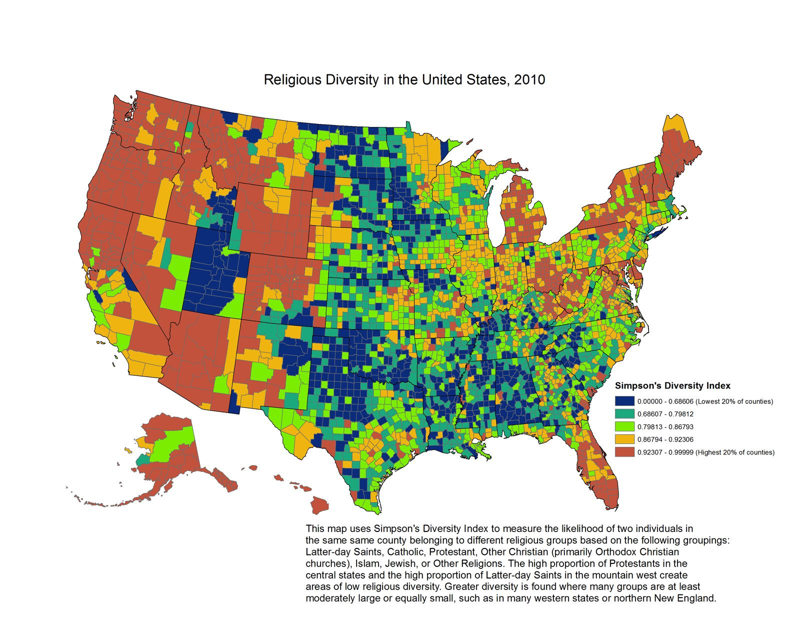 How State And Religiousness Intersect - Map of religions in the us