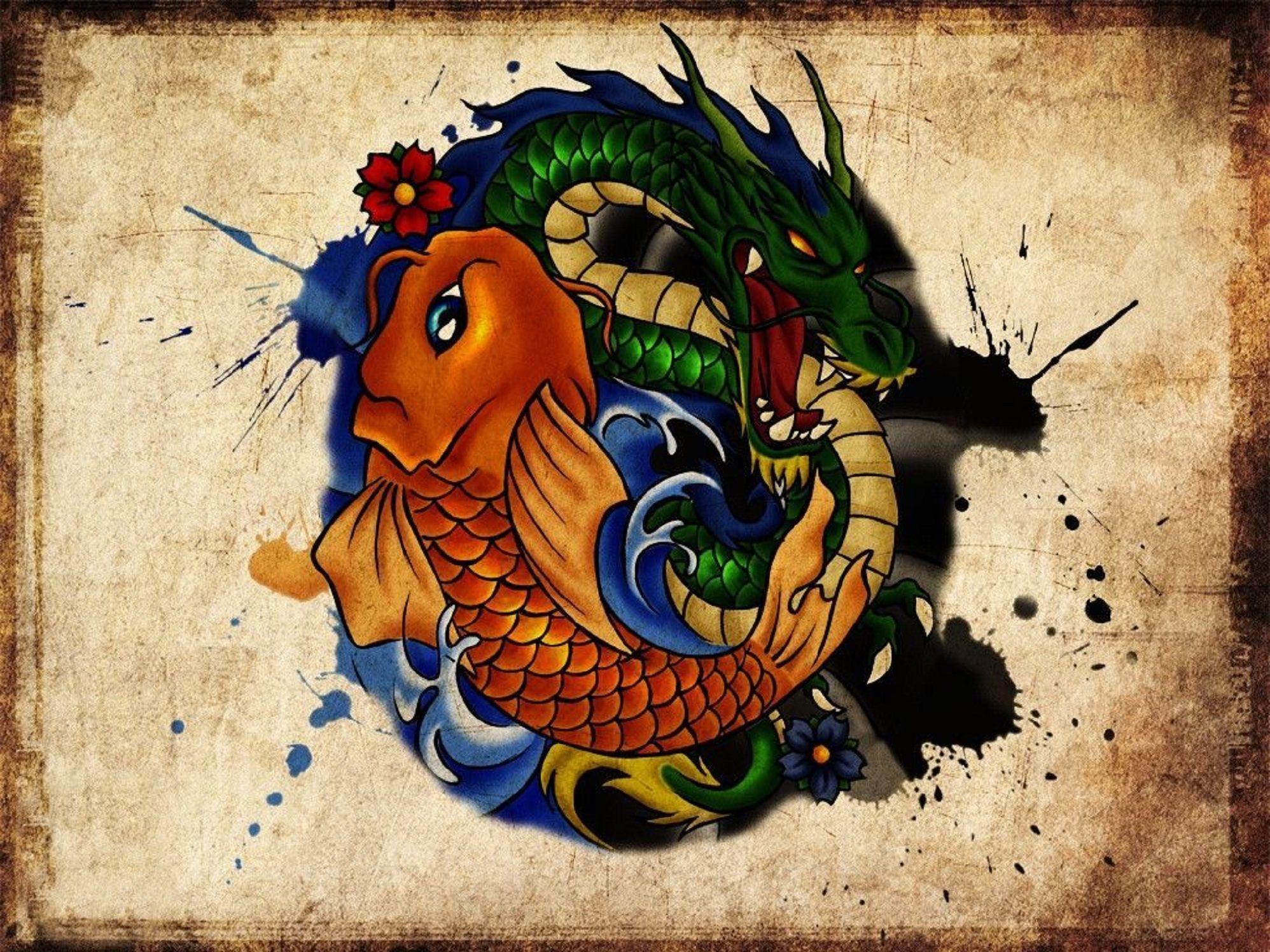 Koi Carp & Dragon Tattoo Design Koi tattoo design, Koi
