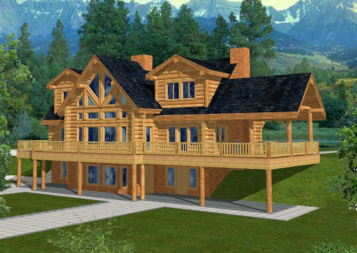 Plan 35121gh spacious log home plan house plans for Mountain vacation house plans