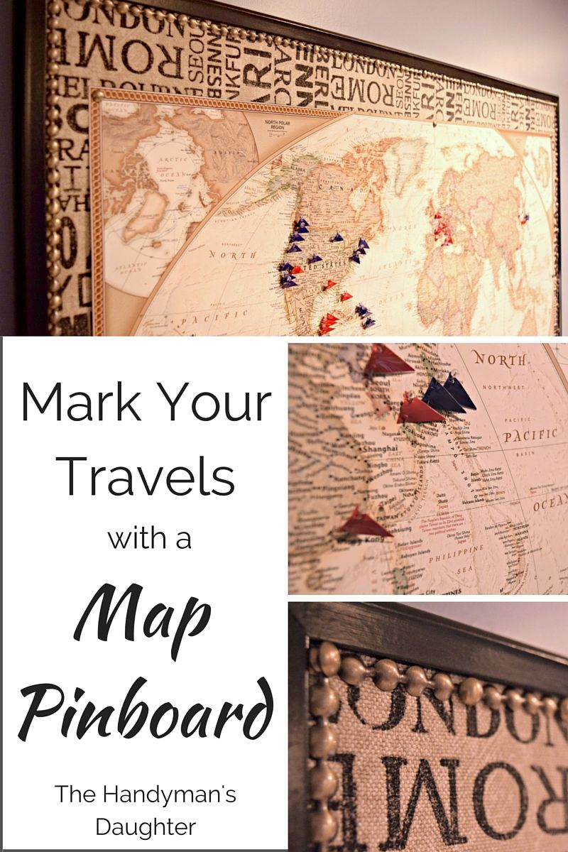 Mark your travels with a world map pinboard bulletin board transform a boring bulletin board into a gorgeous map pinboard full tutorial at thehandymansdaughter gumiabroncs Image collections