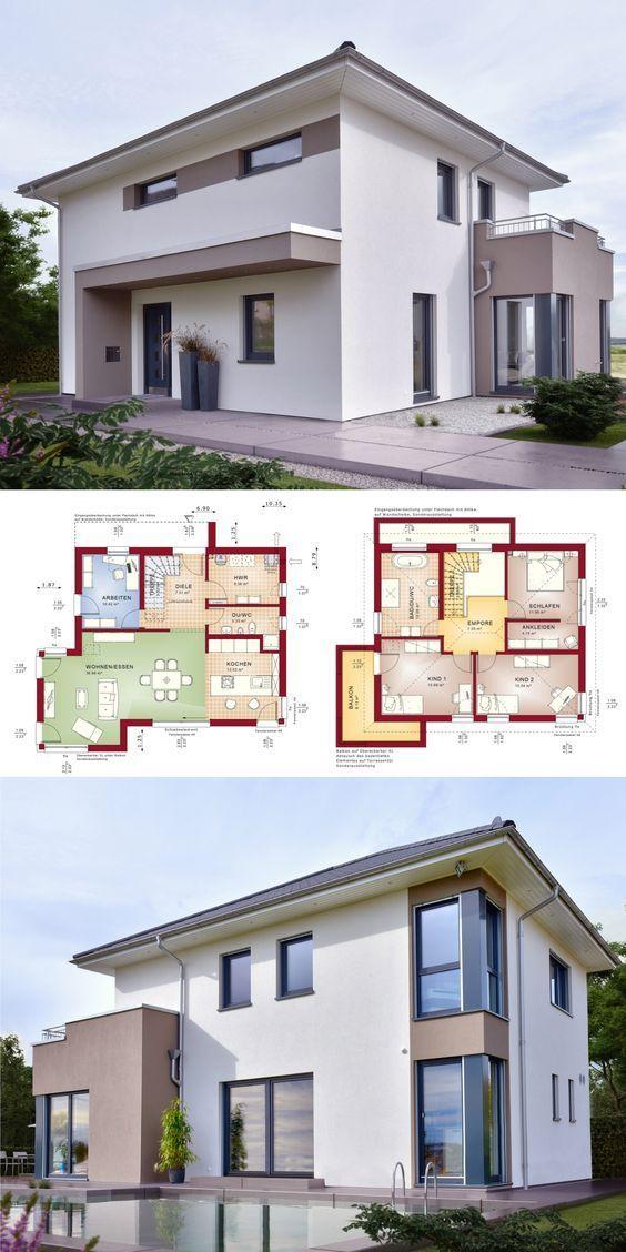 Stadtvilla Neubau modern mit Walmdach Architektur