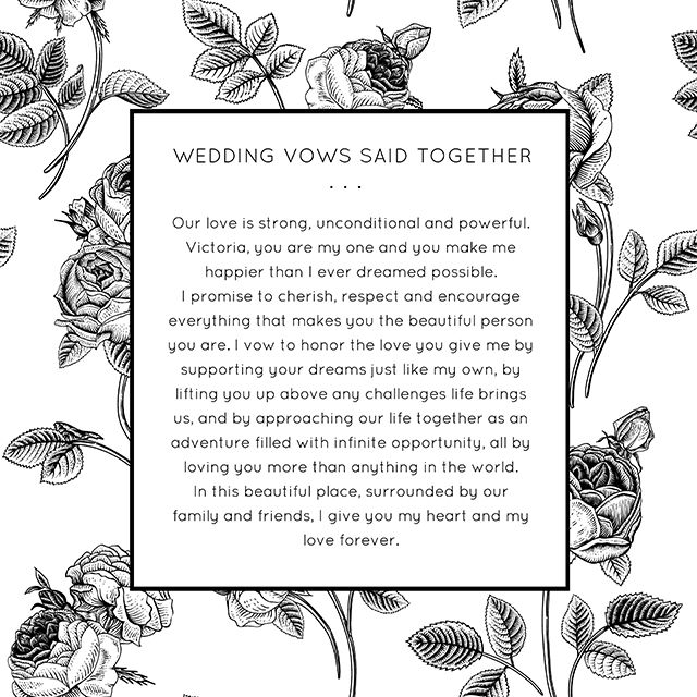 Personalized Wedding Vows Said Together