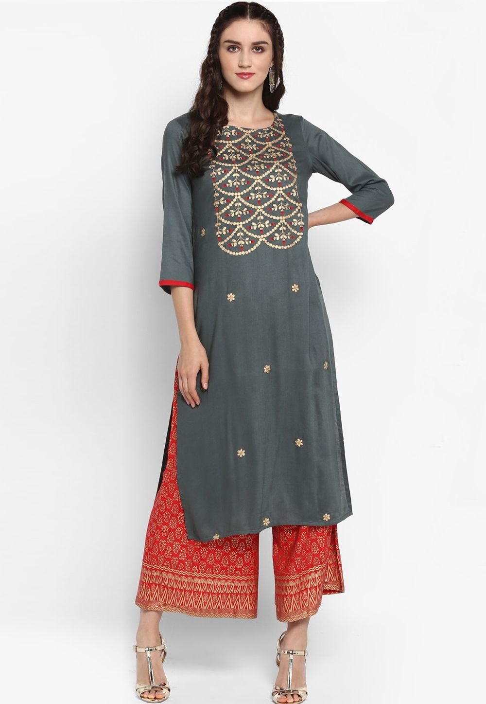 3a29ebda60 Shop Gray Viscose Readymade Kurti 161316 online at best price from vast  collection of designer kurti at Indianclothstore.com.