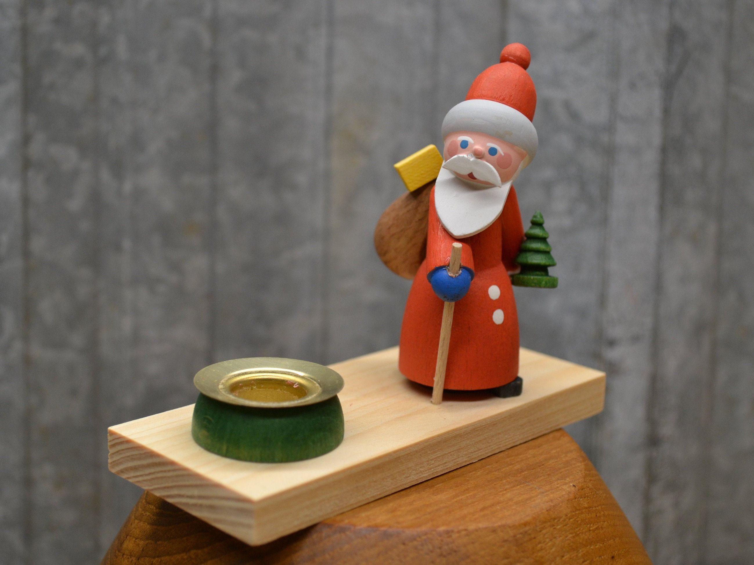 German Erzgebirge Wooden Santa Candle Holder Handmade Etsy Wooden Santa Candle Holders Recipe Card Holders