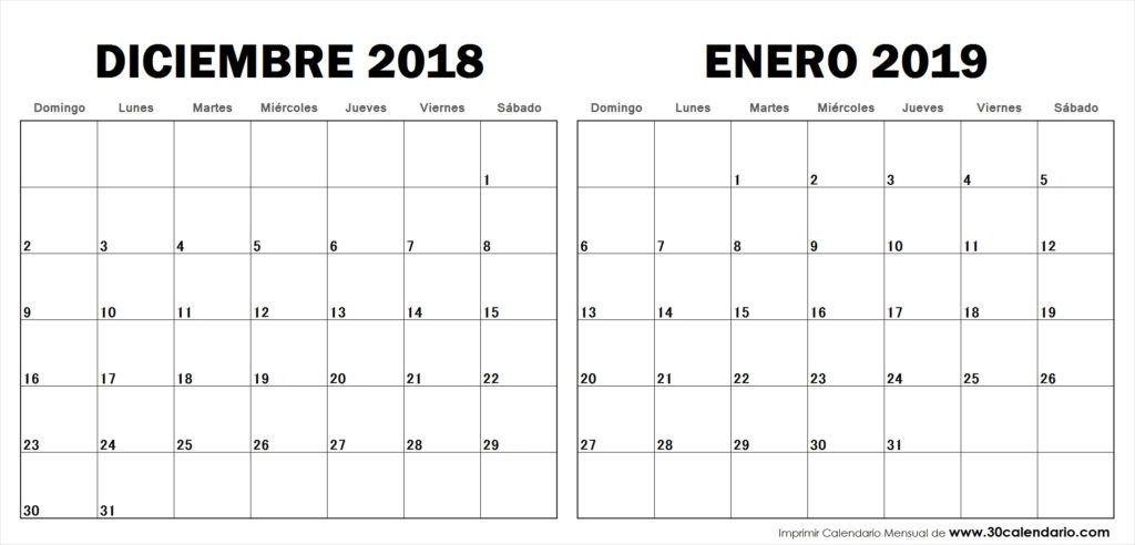 Calendario Diciembre 2018 Con Festivos.Calendario Diciembre 2018 Enero 2019 Con Feriados Colombia