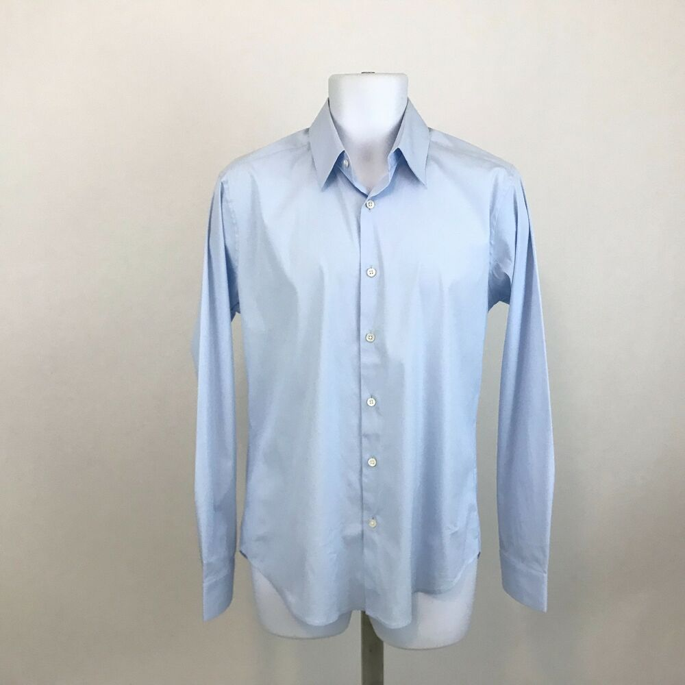 8520b9973b823 Theory Mens Button Down Shirt Size M Light Blue Long Sleeve Cotton Stretch   Theory  ButtonFront