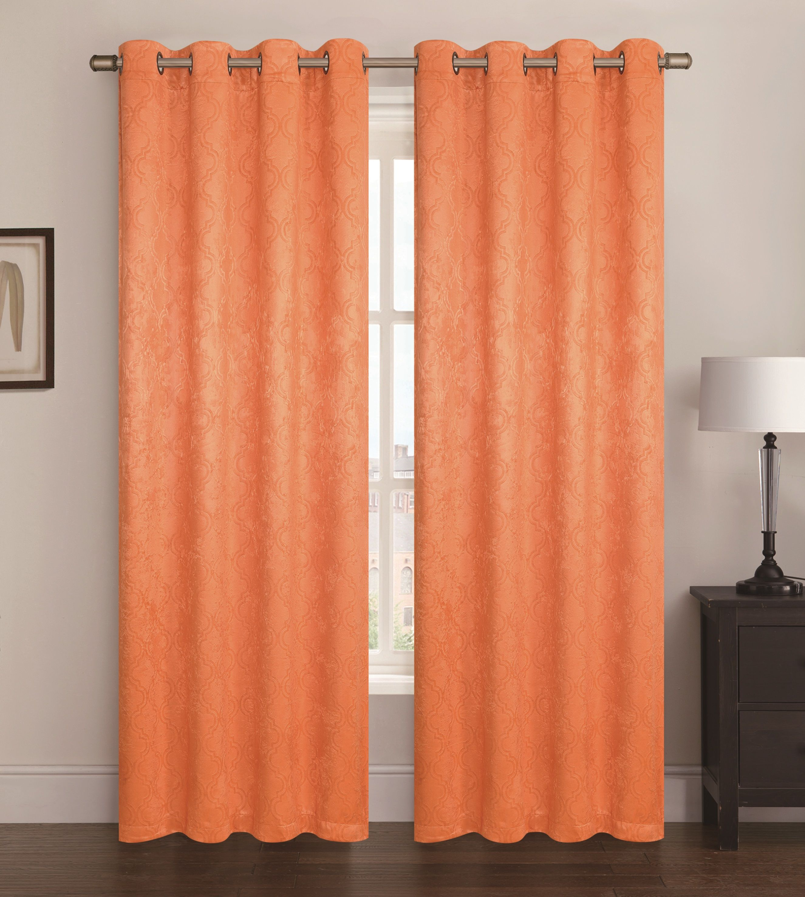 Window dressing ideas for arched windows  blackout  room darkening window curtain panel jacquard geometric