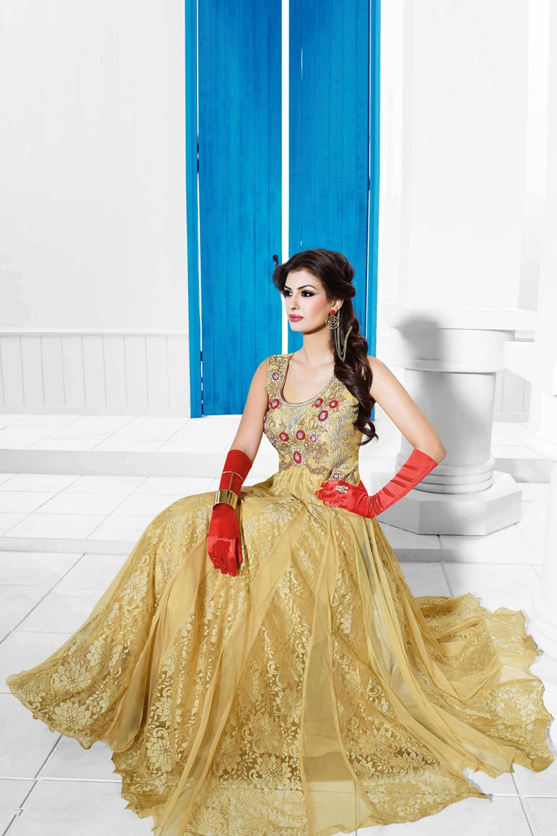 Fawn Color Designer Party Wear Long Length Gowns From Skysarees