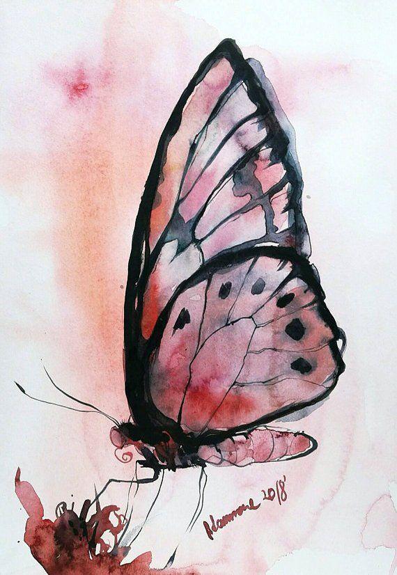 Monarch Schmetterling Wandkunst Original Aquarell Aquarell