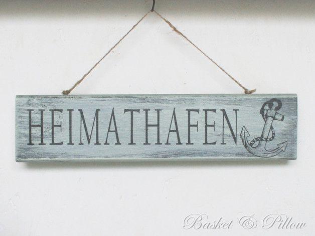 """Schild """"HEIMATHAFEN"""" * Treibholz Look * Vintage"""