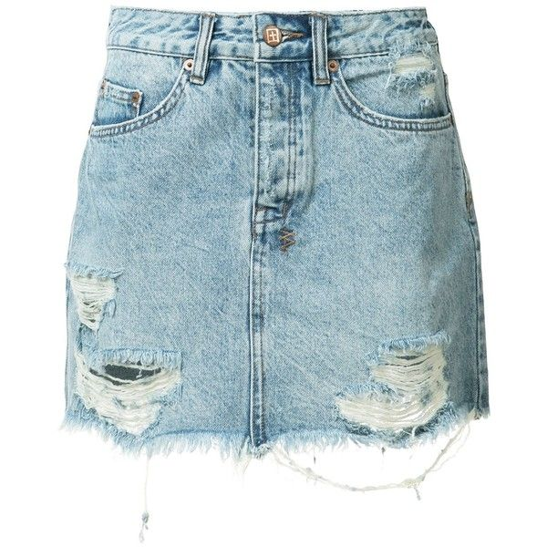 Ksubi ripped denim skirt ($250) ❤ liked on Polyvore featuring skirts, blue, ripped skirt, denim skirt, blue skirt, ksubi and blue denim skirt