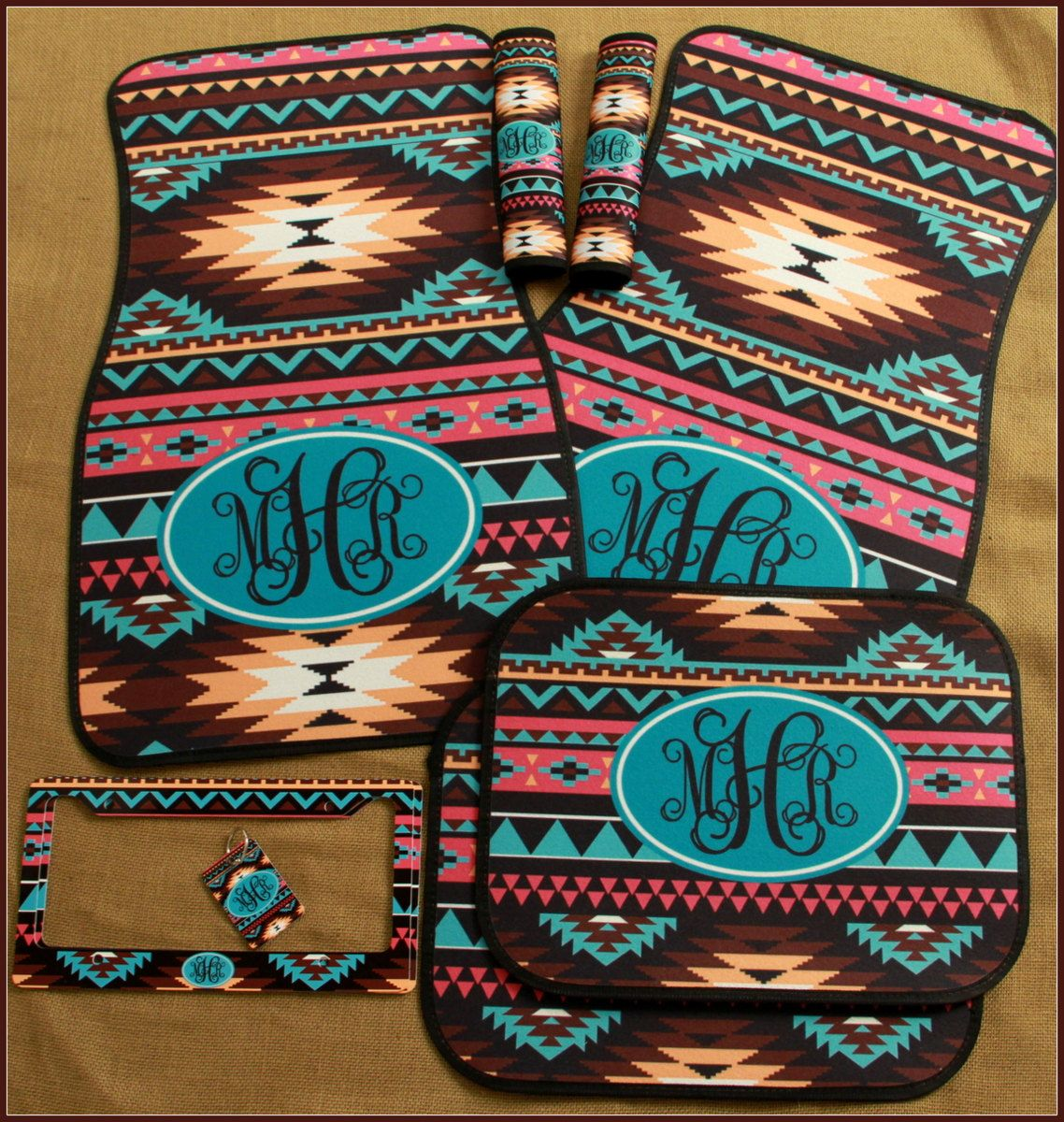 Aztec Tribal Car Accessories Set Car Mats License Plate Frame Key ...