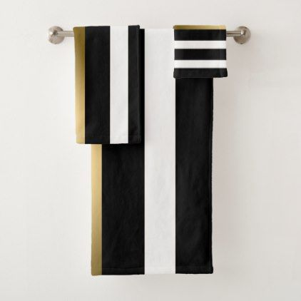 Gold Black And White Stripes Bath Towel Set | Zazzle.com