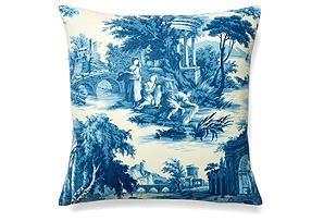Scenes 19x19 Cotton Pillow, Blue