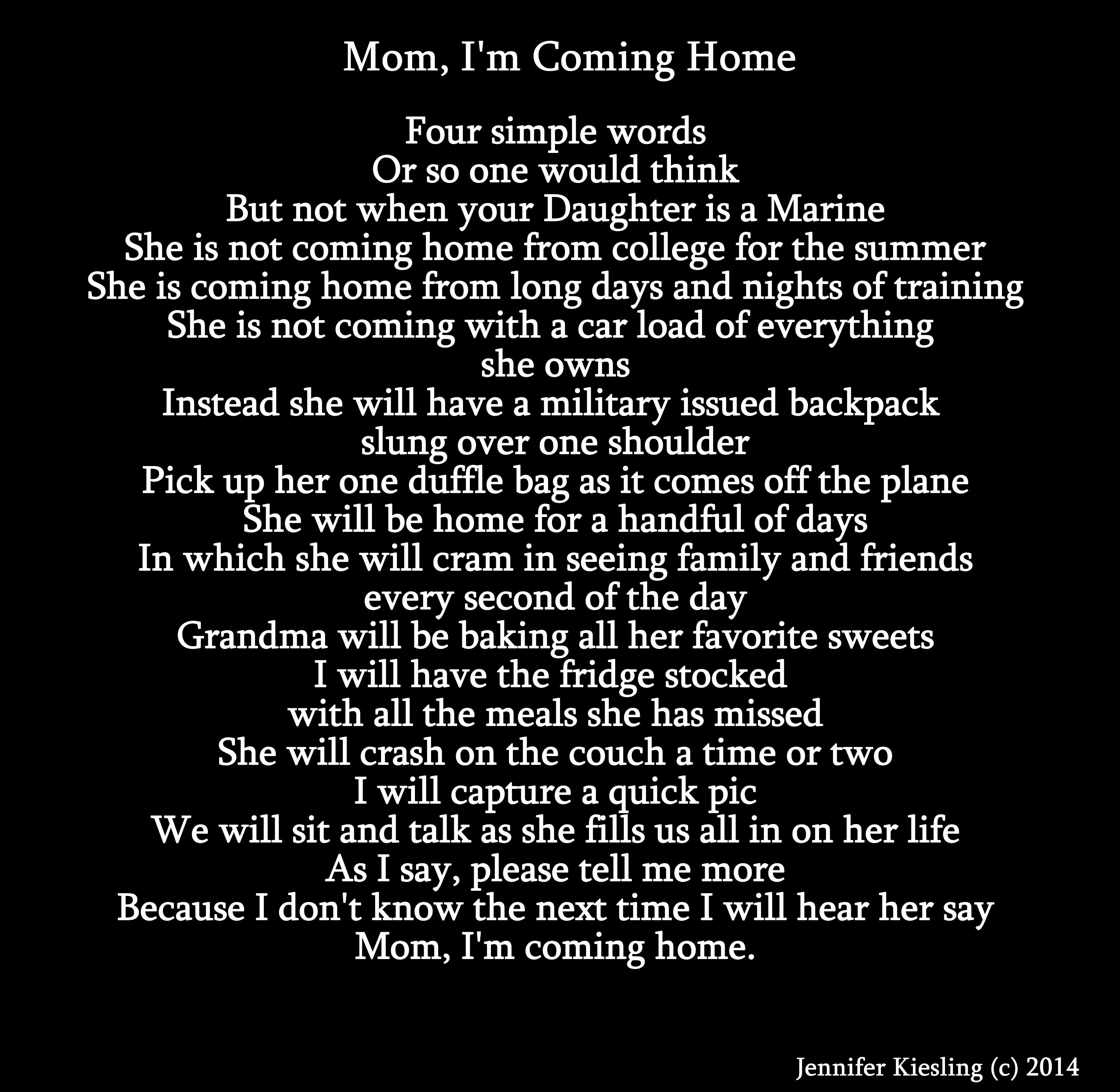 MoM, I'm Coming Home (Marine Daughter Version) Marine Mom