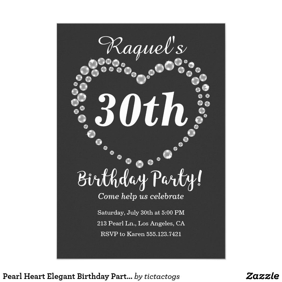 pearl heart elegant birthday party invitation elegant birthday