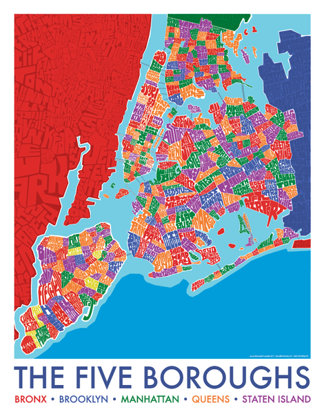 5 Borough Neighborhood Type Map City