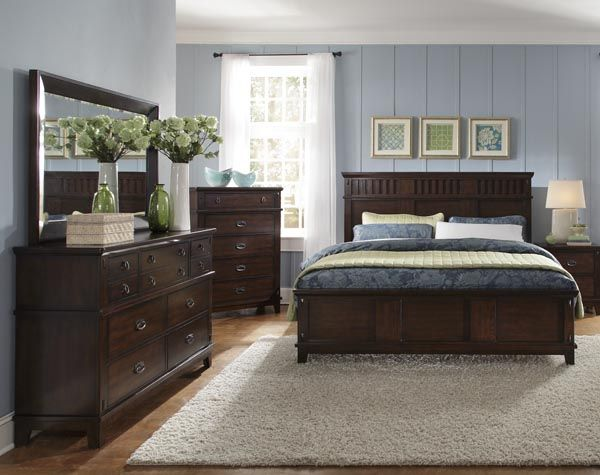 Sonoma Modern Dark Brown Wood Glass Dresser Mirror Brown Furniture Bedroom King Bedroom Sets Dark Wood Bedroom