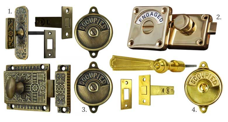 Occupied & Engaged / Vacant Brass Bathroom Door Locks | bath
