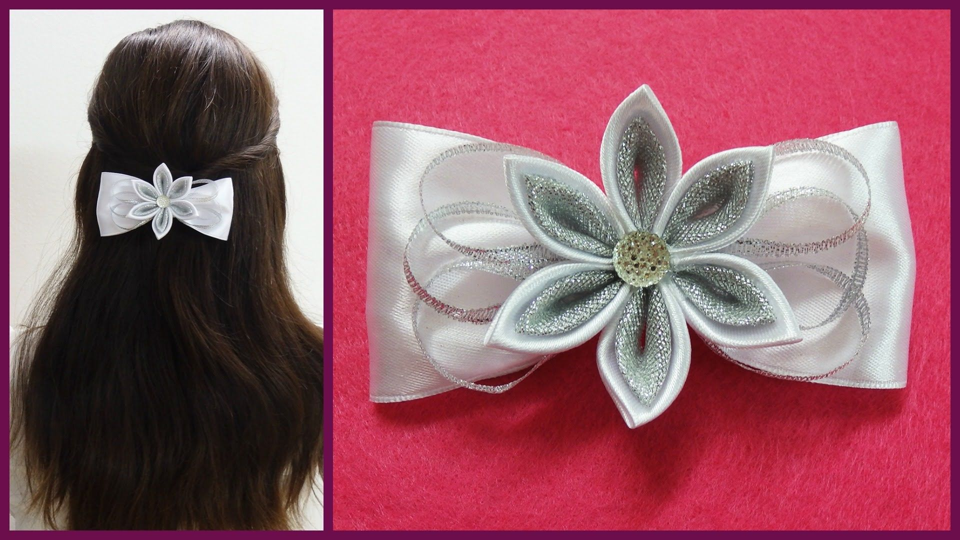Hello everyonein this video i want to show you how to make this hello everyonein this video i want to show you how to make this adorable kanzashi hair bow clip key words diy kanzashi hairbowhow to make hair bow baditri Image collections