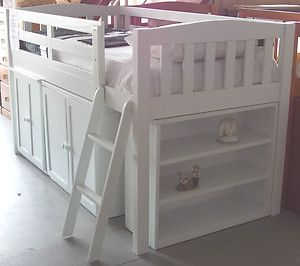 BUNK BED LADDER PULL OUT DESK BOOKCASE TIMBER BRAND NEW WHITE CABIN LOFT BUNK