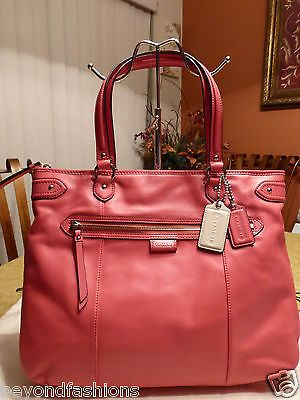 bc2ae4afc83f NWT COACH Poppy Daisy EMMA Leather ~CORAL PINK~ Glam Large Tote Bag Purse   358