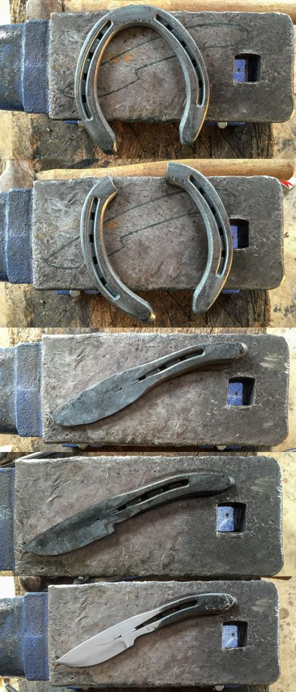 Hand forged horseshoe knife.  Mark Winburn Knives