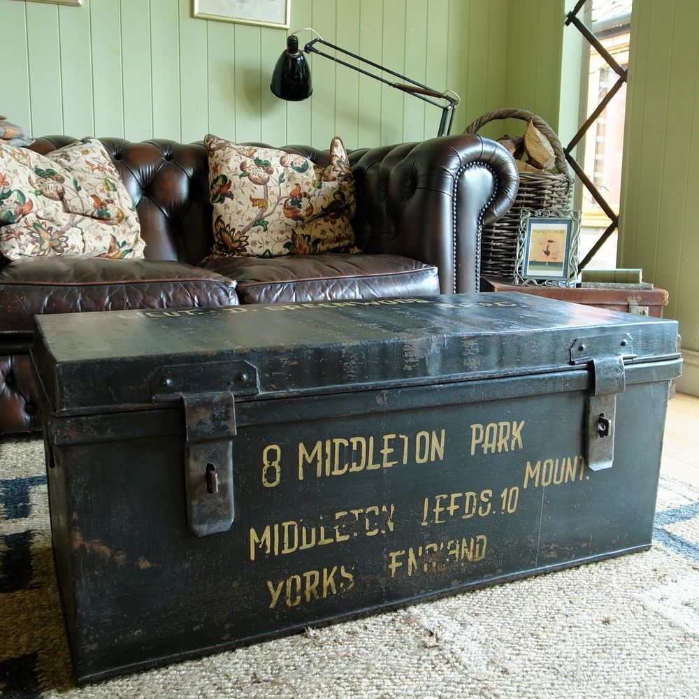 Vintage Military Trunk Industrial Wwii Footlocker Metal Chest Coffee Table Box Footlocker