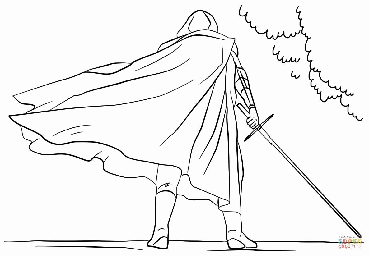 Kylo Ren Coloring Page Luxury Kylo Ren With Lightsaber Coloring
