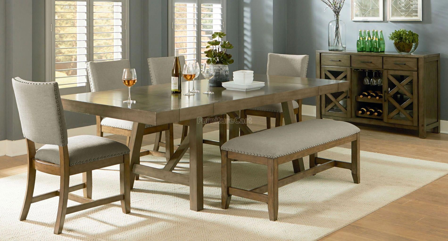 Omaha Dining Room Set w/ Upholstered Bench (Grey) images