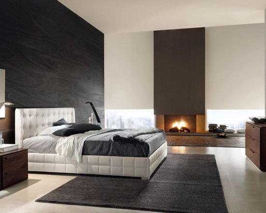 Modern luxury bedroom black white fireplace for Idee de chambre