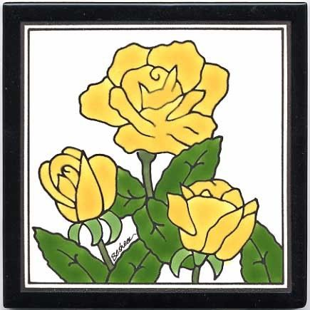 YELLOW ROSES TILE - WALL PLAQUE - TRIVET FGB-9 | Flower Tiles / Wall ...