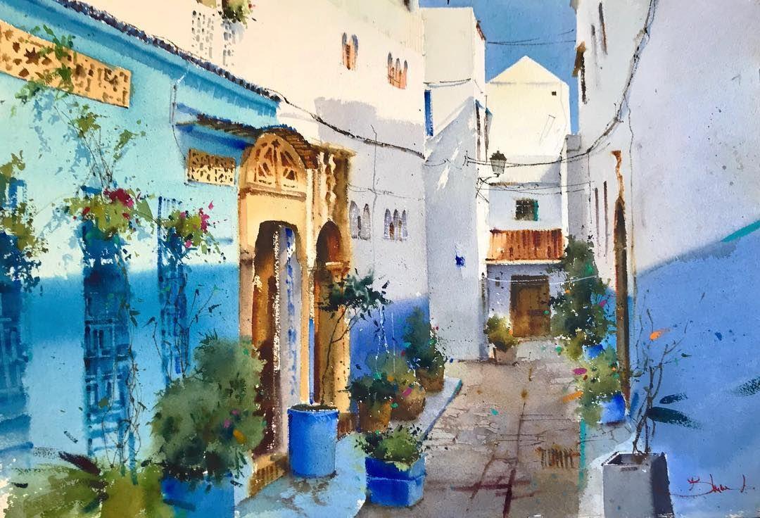 Calle De Marruecos Acuarela Sobre Papel 38x56 Cm Watercolor