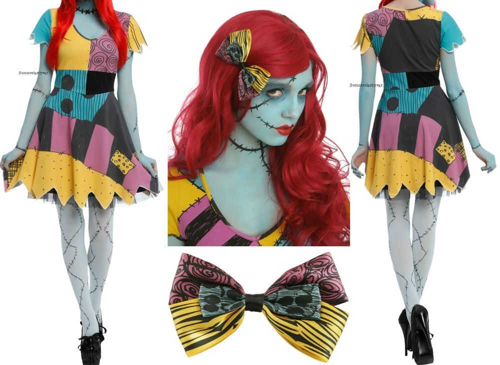 the nightmare before christmas sally rag doll dress wig and bow cosplay costume - Sally Nightmare Before Christmas Wig