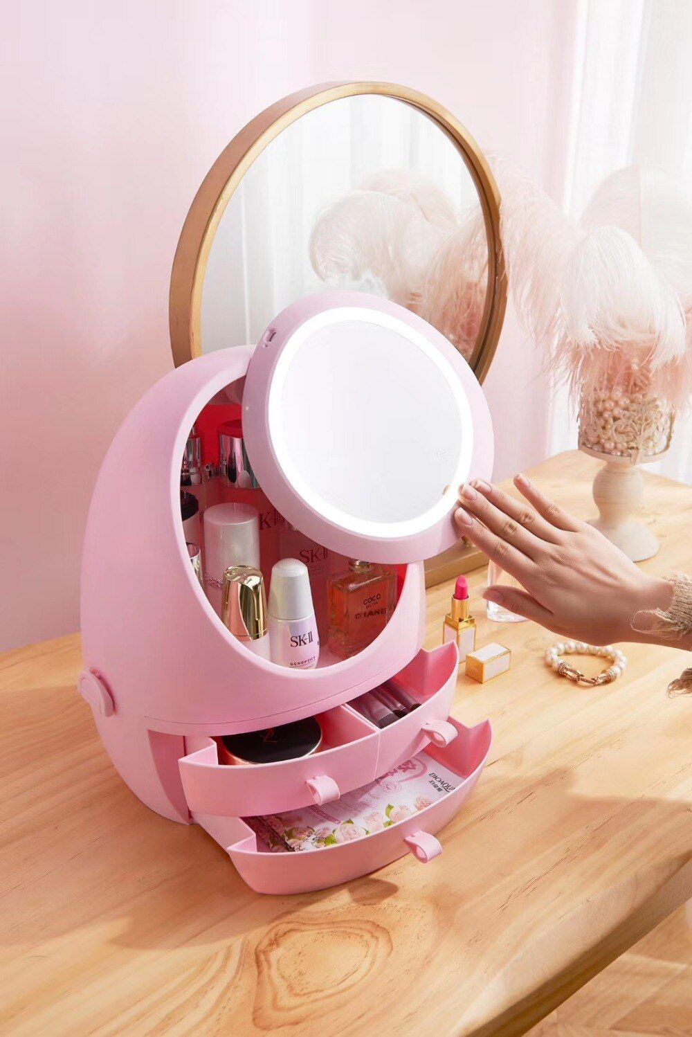 USB Rechargeable Makeup Organizer Cosmetic Storage Box