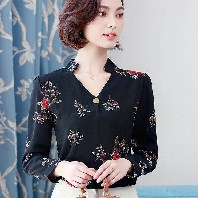 ee9605e8a5e032 Womens Tops And Blouses 2018 Autumn Fashion V-Neck Chiffon Blouses Slim  Women Chiffon Blouse Office Work Wear Shirts Women Tops