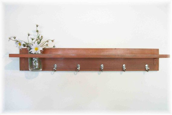 Wood Wall Shelf Hooks Rustic Burnt Orange Color Shabby Chic Cottage 5 Hooks Antique Wall Shelf Wall Shelf With Hooks Wooden Wall Shelves
