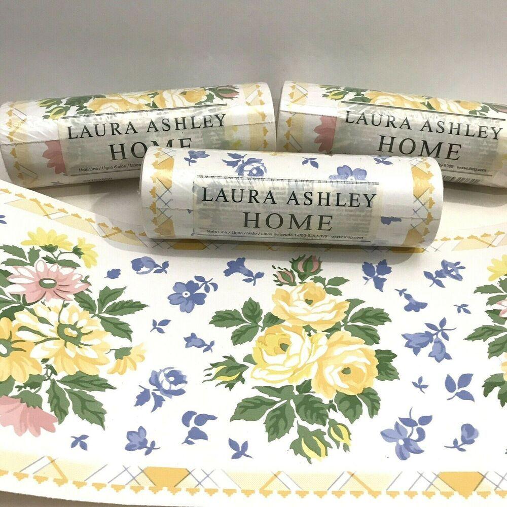 Laura Ashley Home Wallpaper Border Garden Yellow Roses