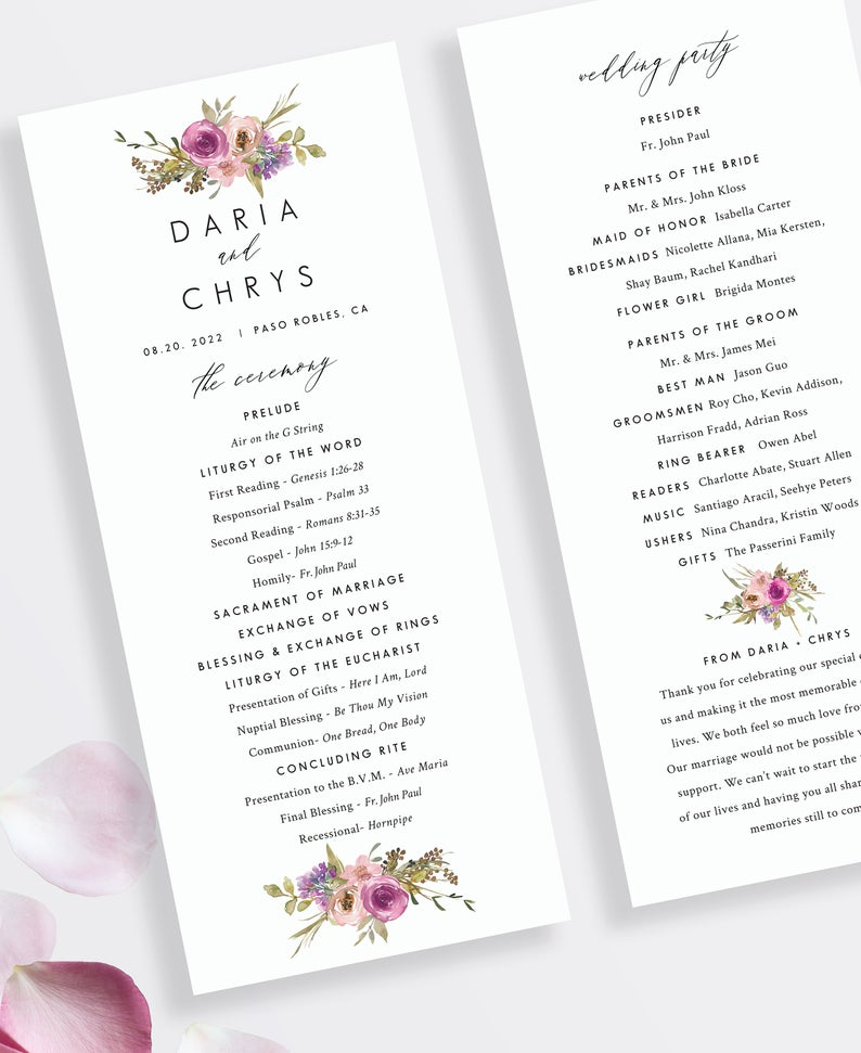 St Daria Catholic Wedding Program Template With Mass Custom Etsy Catholic Wedding Program Wedding Programs Wedding Programs Template