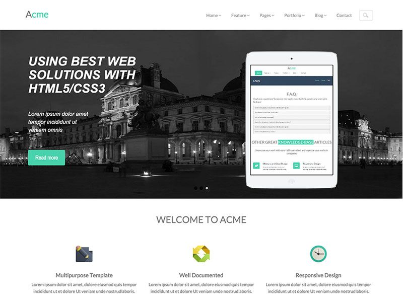 Acme Free Responsive Corporate Bootstrap Template Bootstrap Template Templates Blog Layout