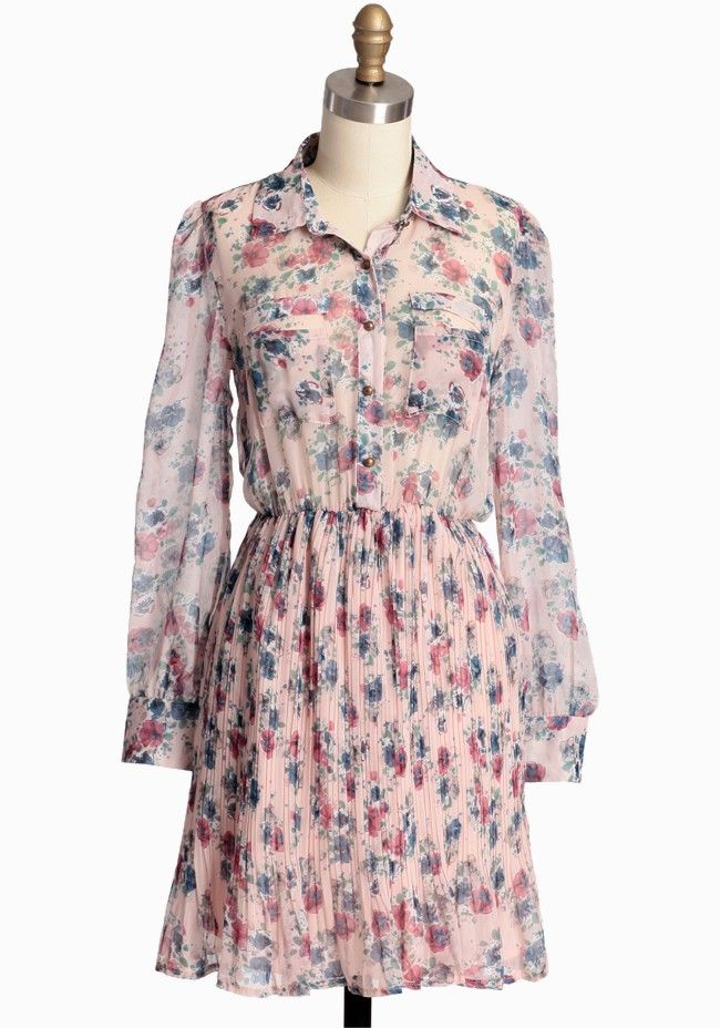 Ruche Growing Love Floral Dress In Pink $37 (final sale)