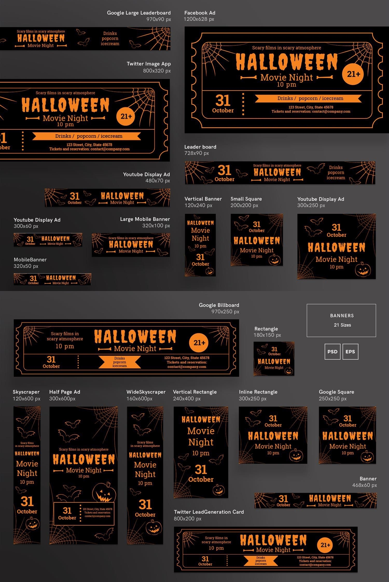 halloween movie night banner pack template websites design