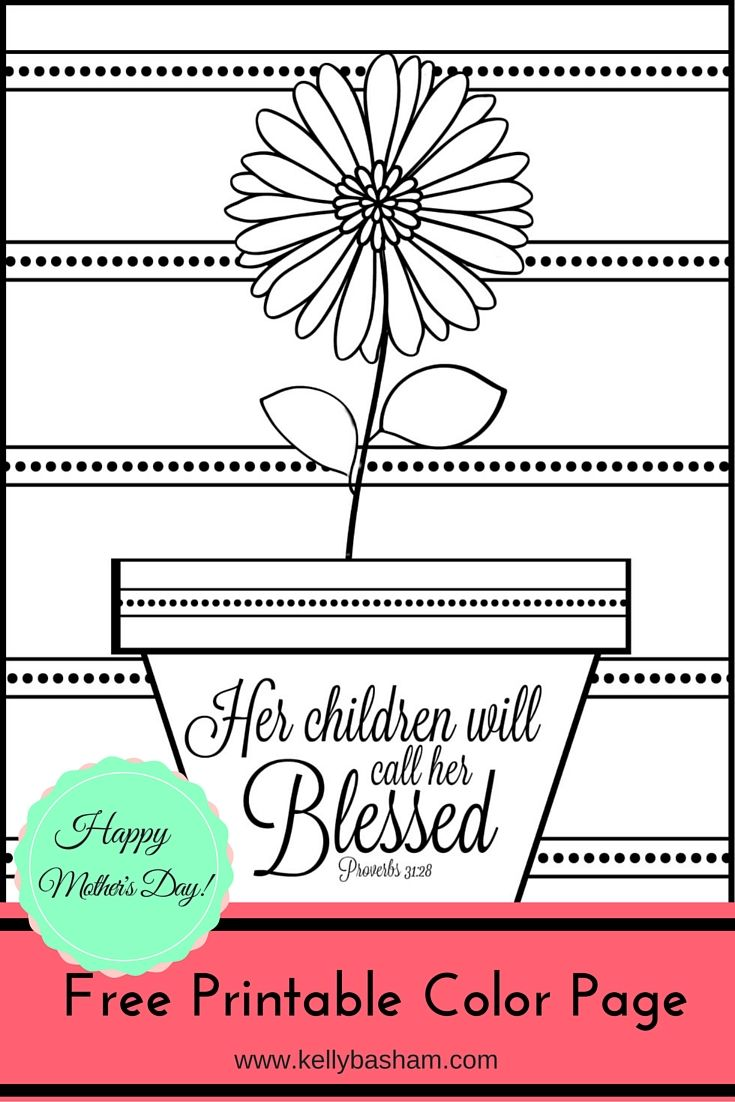 Free printable adult coloring page with inspirational for Mothers day coloring pages religious