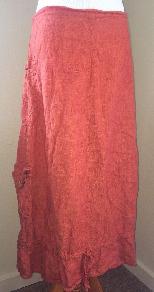 Flax Linen Skirt Misses Small Orange Summer Ruffle Cargo Granola Hippie #Flax #PeasantBoho