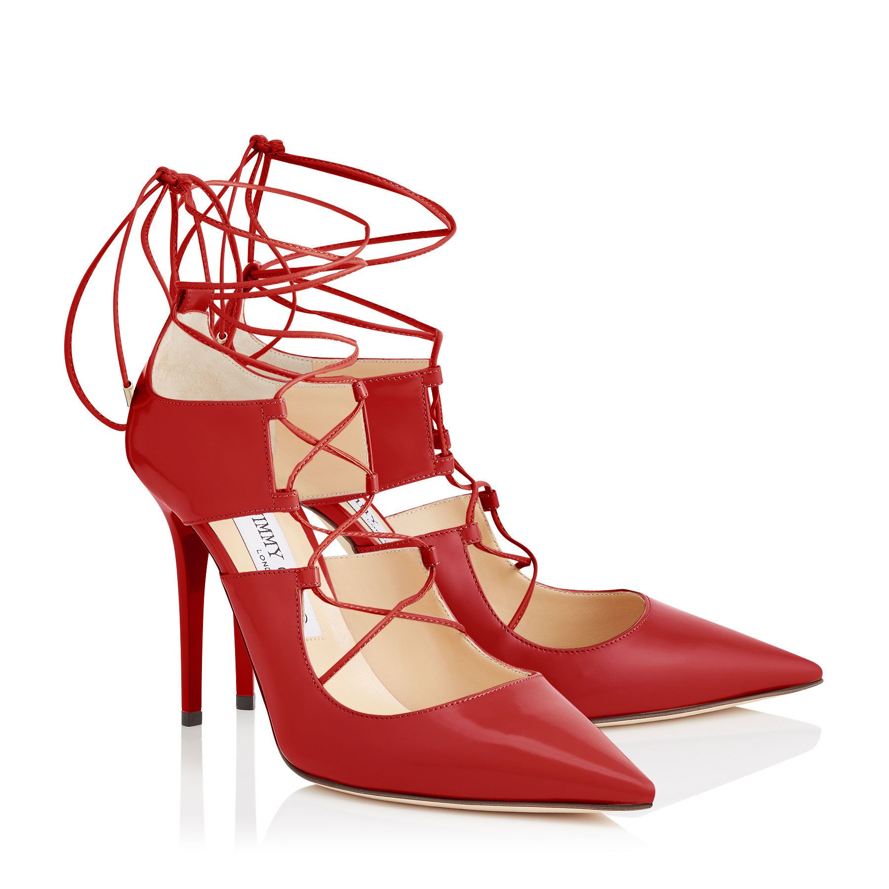 The Jimmy Choo red shiny leather pointy toe lace up HOOPS pumps