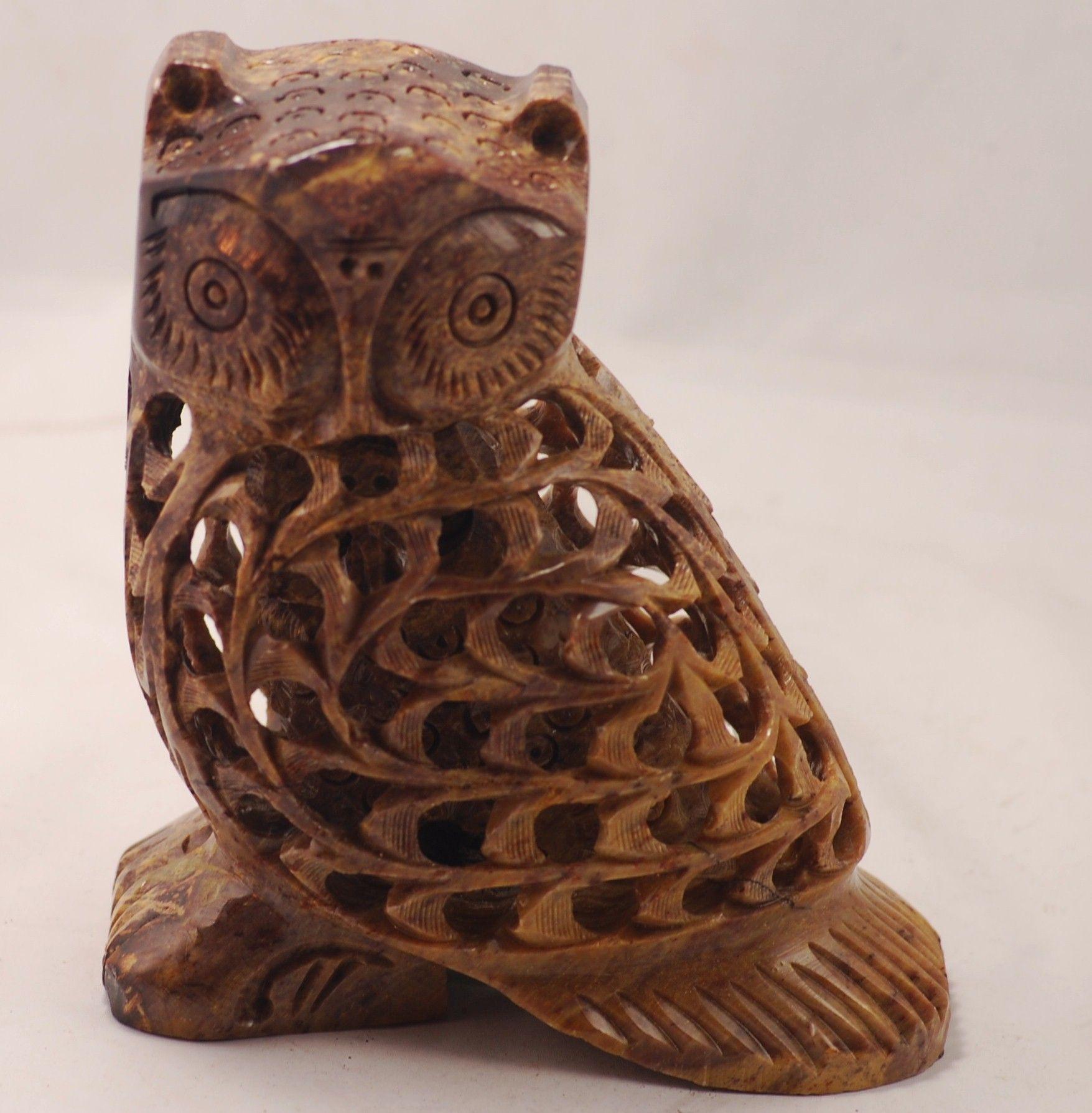 Soapstone Owl Carving with Smaller Owl Inside