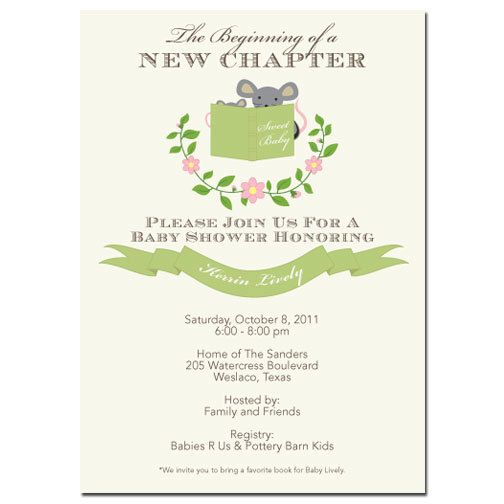 Stock the Library Gender Nuetral Story Book Baby Shower Invitation